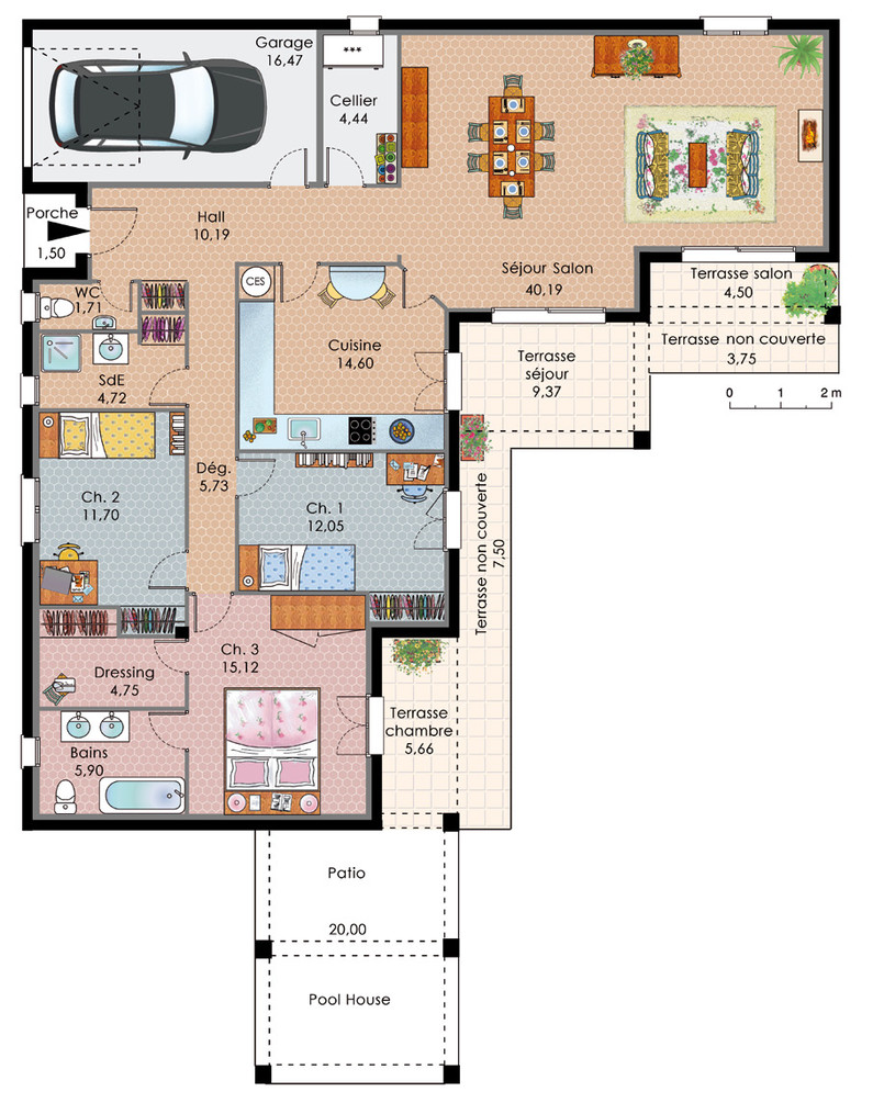 Plan maison en u plain pied pin de maison plain pied en for Plan maison u
