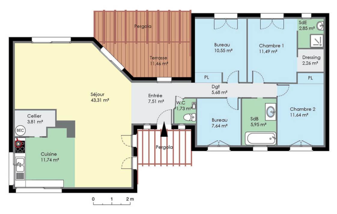 plan de maison contemporaine de plain pied