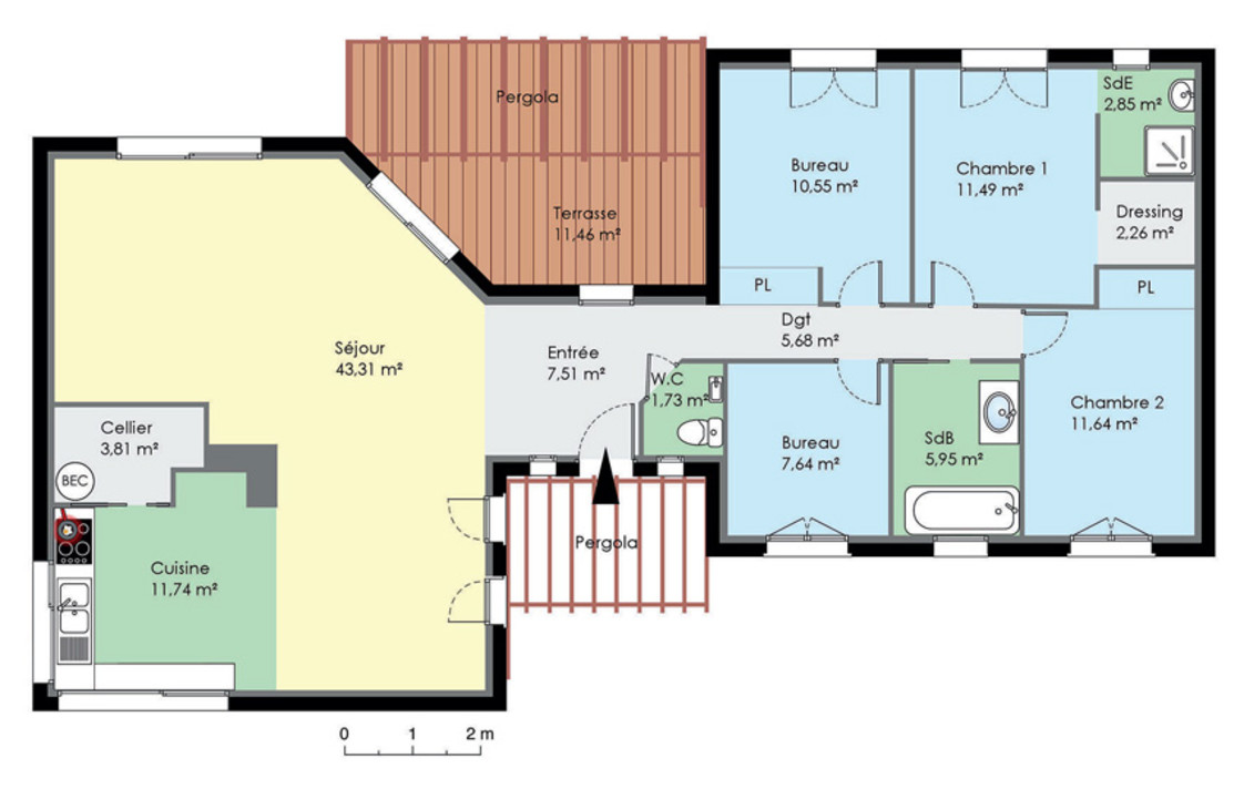 plan de maison contemporaine de plain pied