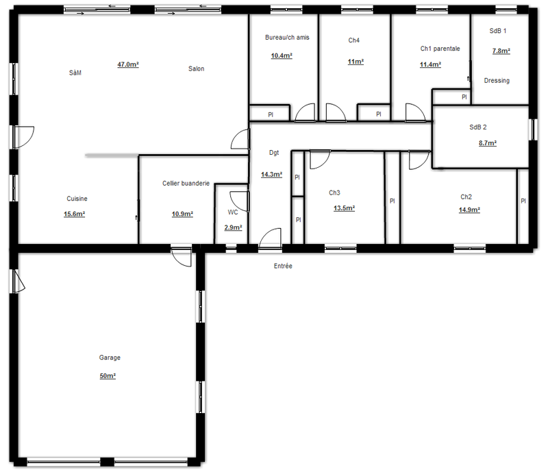Plan construction de maison en u plans maisons for Plan maison plain pied 3 chambres 150m2