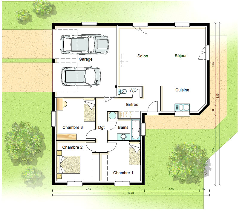 Plan de maison 7 pieces for Plan de maison 2 chambres plain pied