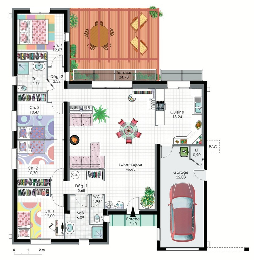 Plan maison bioclimatique plain pied plans maisons for Exemple plan de maison plain pied