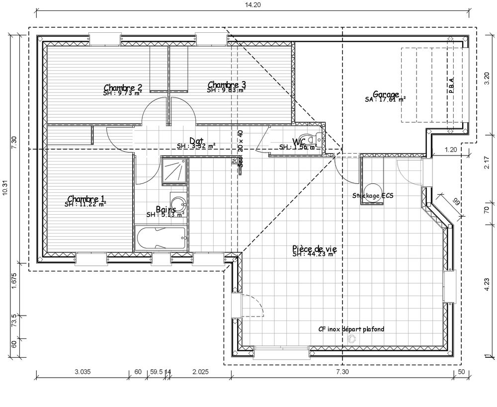 Plan de maison contemporaine de plain pied plans maisons for Plan maison de plain pied 4 chambres