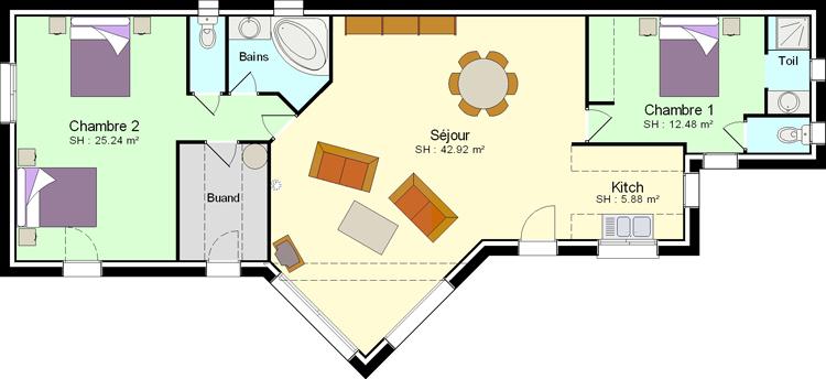 Favori Faire construire une petite maison avec 2 chambres - Plans & maisons EE81