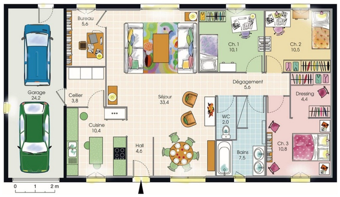 Plan maison plain pied 3 chambres plans maisons for Plan maison 3 faces