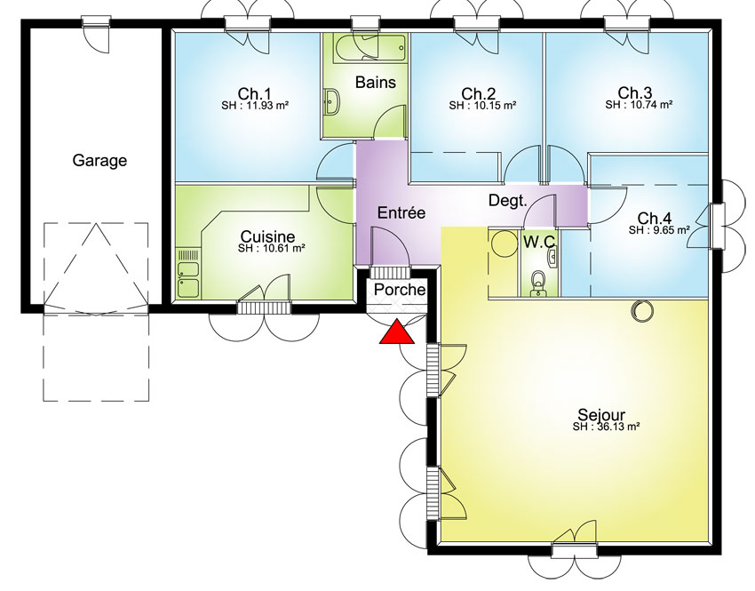 Maison contemporaine plans maisons for Plan maison plain pied 4 chambres avec suite parentale