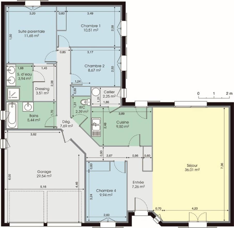 plan maison plain pied en L