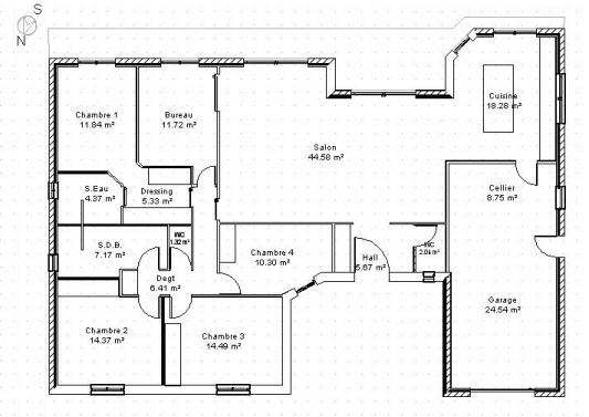 Plan construction de maison en u plans maisons for Plan de villa plain pied gratuit