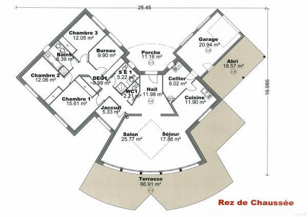 plan maison plain pied en V