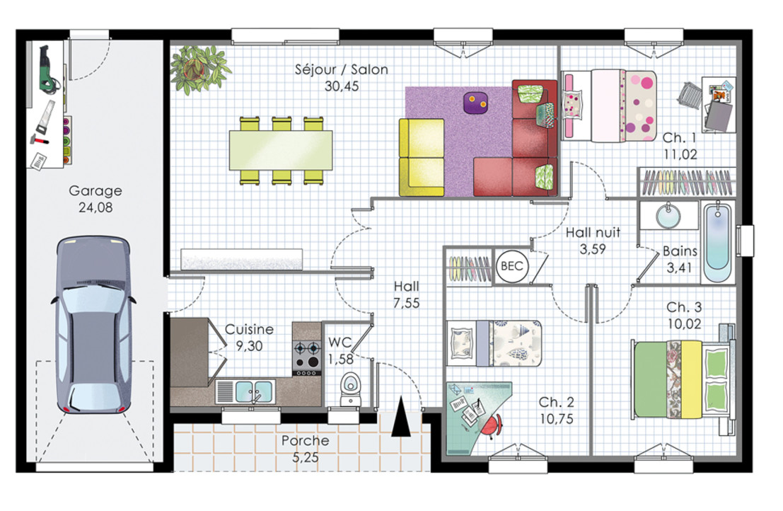 Superieur Plan Maison Plain Pied Moderne Conception
