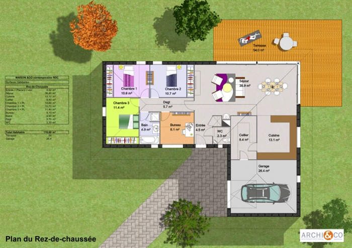Plan de maison plain pied avec suite parentale mezzanine for Maison contemporaine plain pied plan