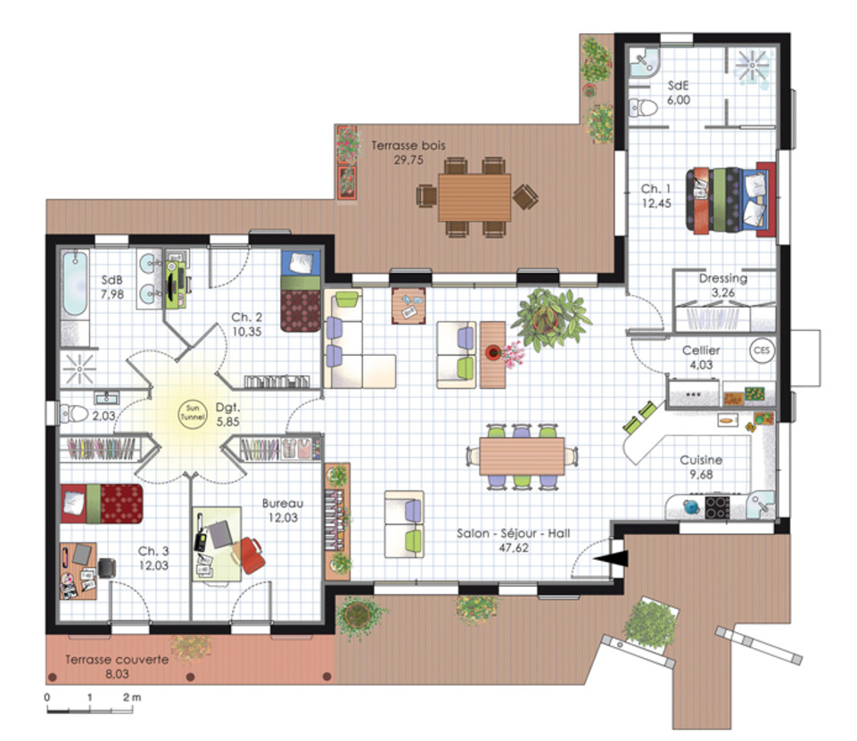 Plan de maison d 39 architecte plans maisons for Plan maison plain pied 3 chambres 150m2