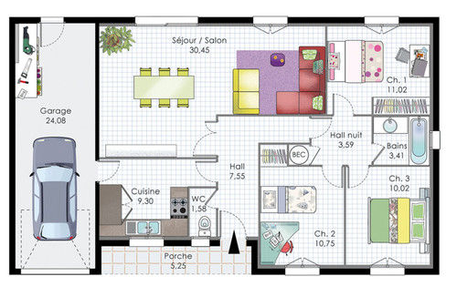 Plan de maison rectangle gratuit plans maisons for Site de construction de maison 3d