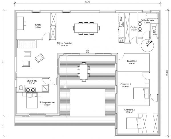 Maison en u avec patio plans maisons for Plan maison cubique plain pied
