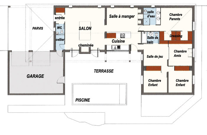 Plan de maison en u plain pied for Plan de maison en plain pied