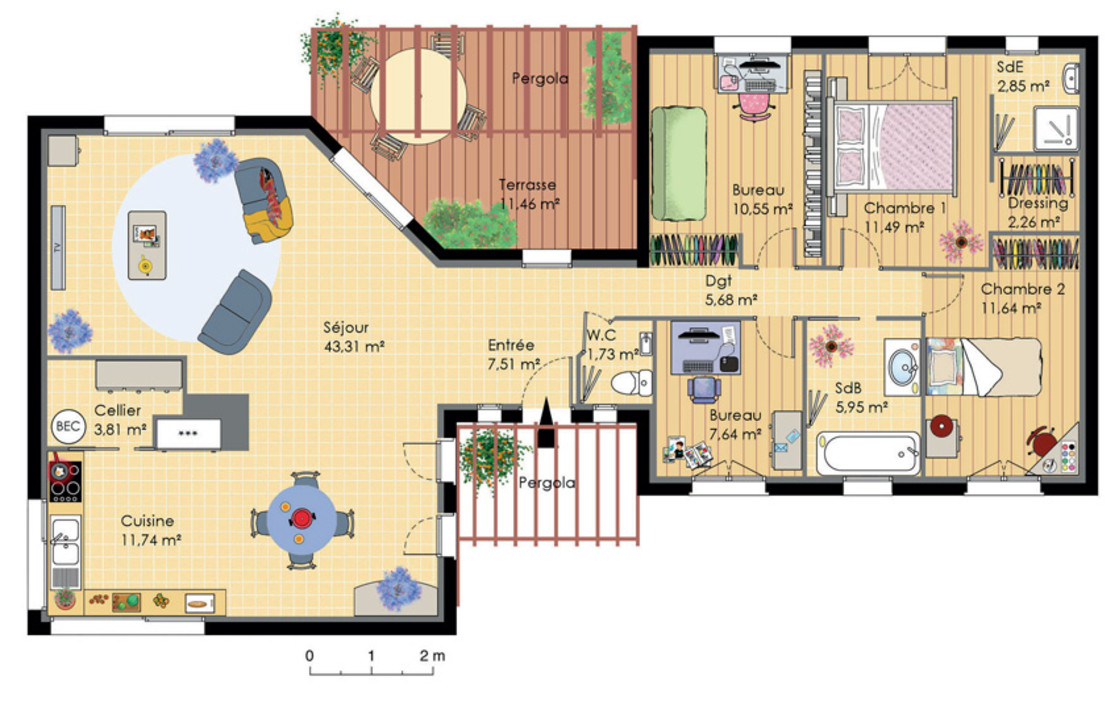 Plan maison en v pour faire construire sa maison plans for Exemple plan de maison plain pied