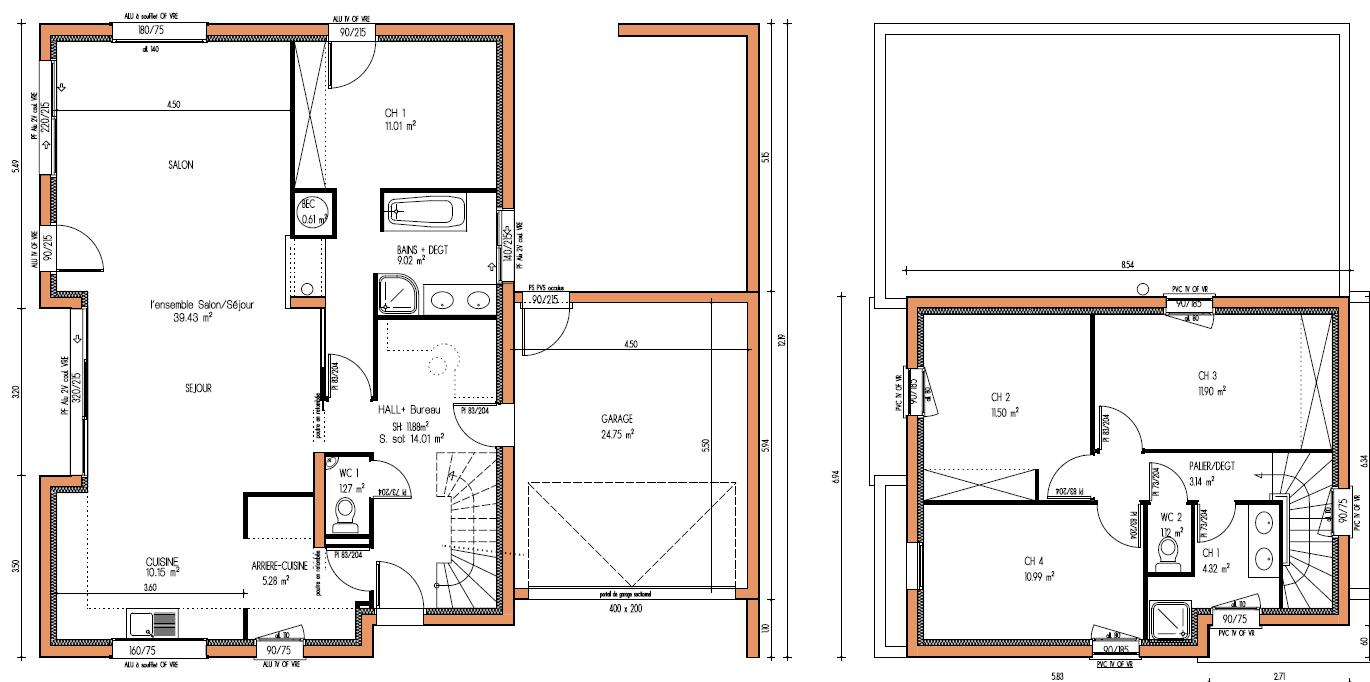 Plan de maison en bois contemporaine plans maisons for Plan maison 4 chambres etage