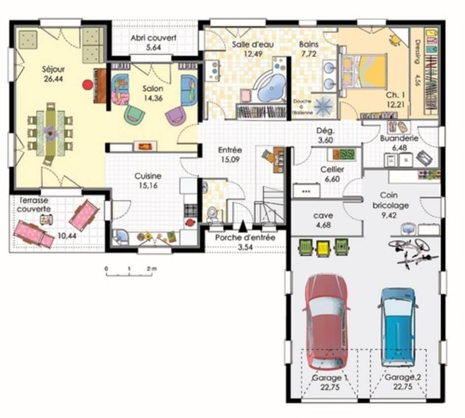 Plan Maison En L Avec Garage Pour 2 Voitures Plans Maisons