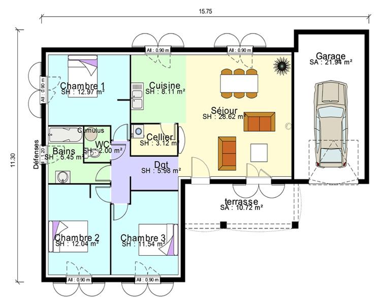Plan Maison Contemporaine Plain Pied En L 3 Chambres Et