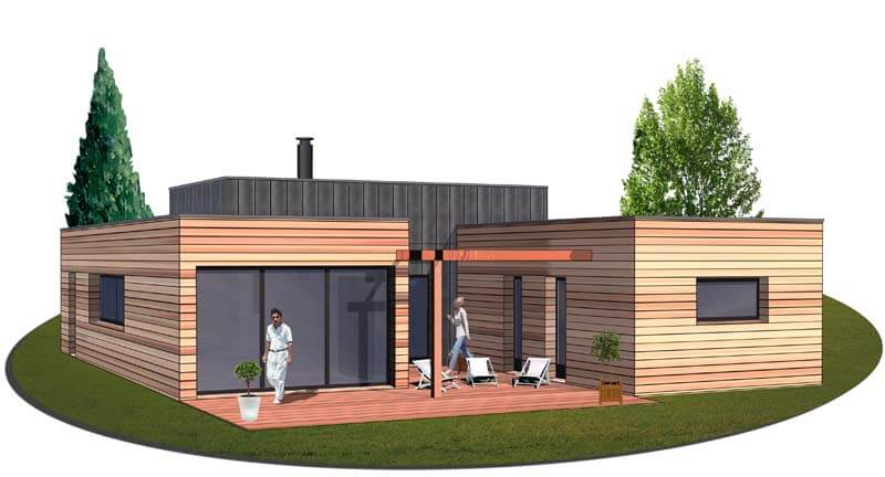 Construction maison ossature bois de plain pied avec terrasse
