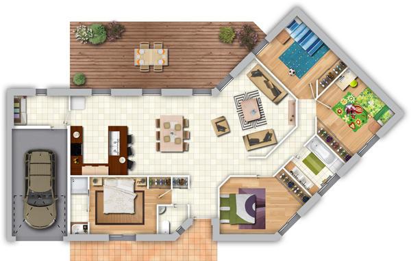 Maison contemporaine avec pi ce de vie lumineuse 4 for Plan chambre parentale