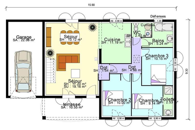 Plan de maison plain-pied avec suite parentale, mezzanine, terrasse couverte et garage