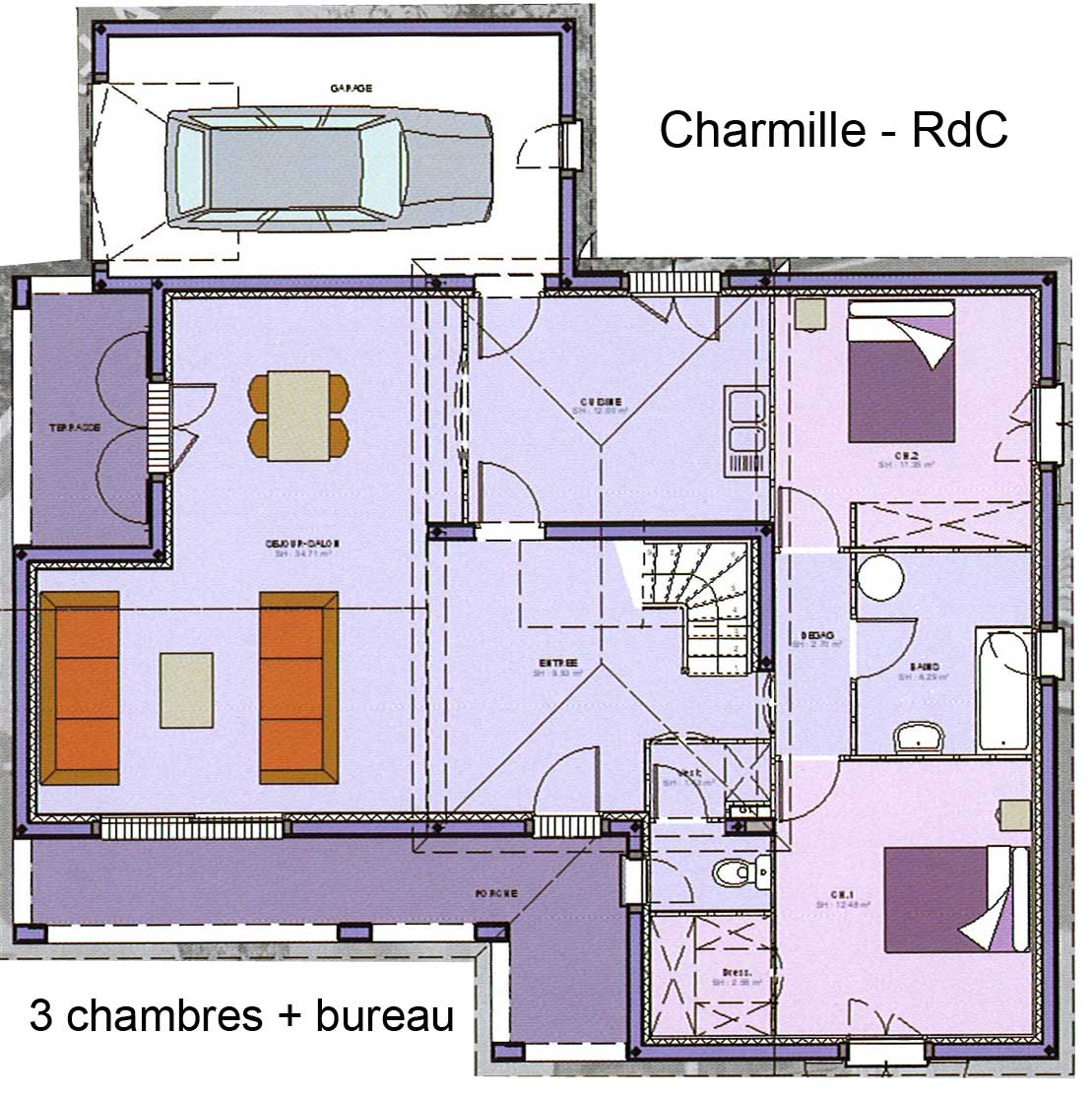 Maison avec tage avec grand salon s jour bureau 3 for Plan maison contemporaine 3 chambres