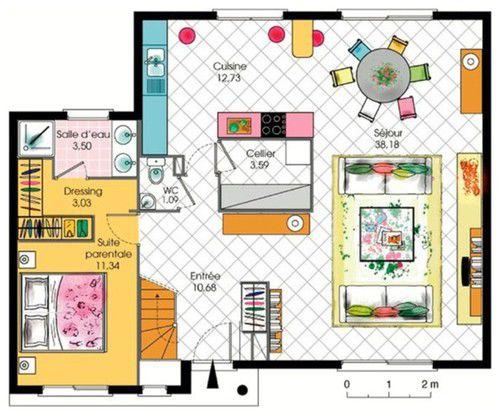 Maison contemporaine à étage avec cuisine ouverte et suite parentale