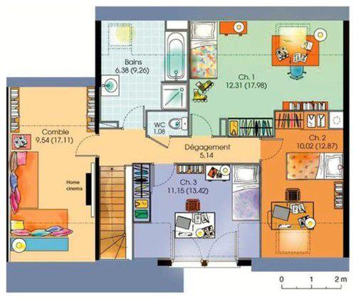 Maison contemporaine tage avec cuisine ouverte et suite for Plan maison cuisine ouverte