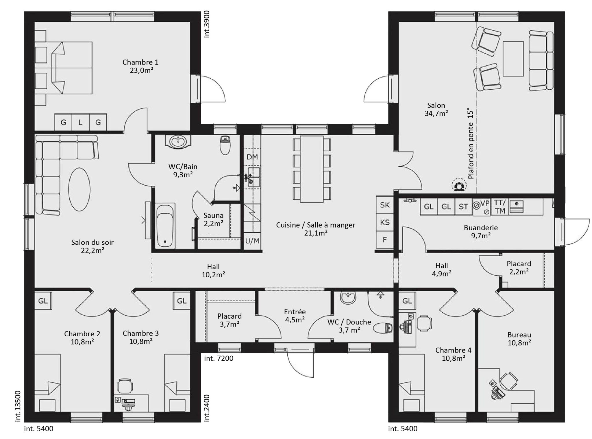 Plan maison basse 4 chambres for Plan maison 3 faces