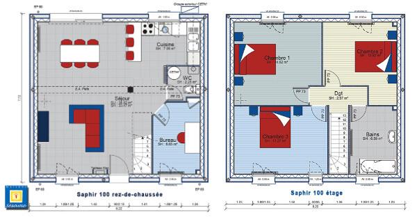 Plan de construction de forme carrée avec un étage et 3 chambres
