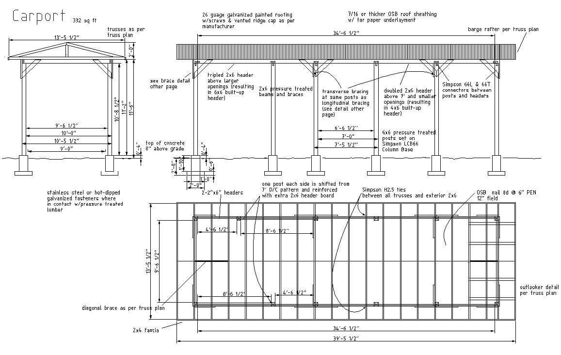 Plan complet de carport galvanisé