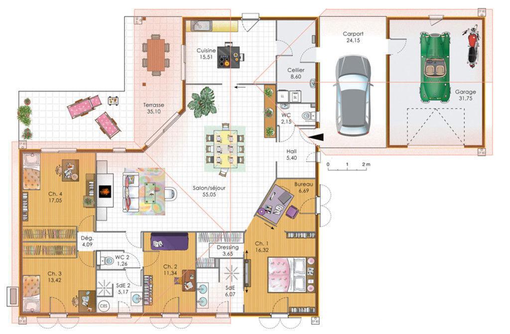 Grande maison 4 chambres avec terrasse garage et carport plans maisons - Plan maison plain pied 200m2 ...