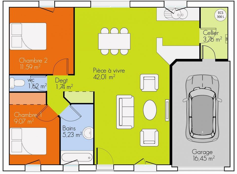 Exemple plan maison plain pied plans maisons for Plan maison 3 chambres plain pied garage