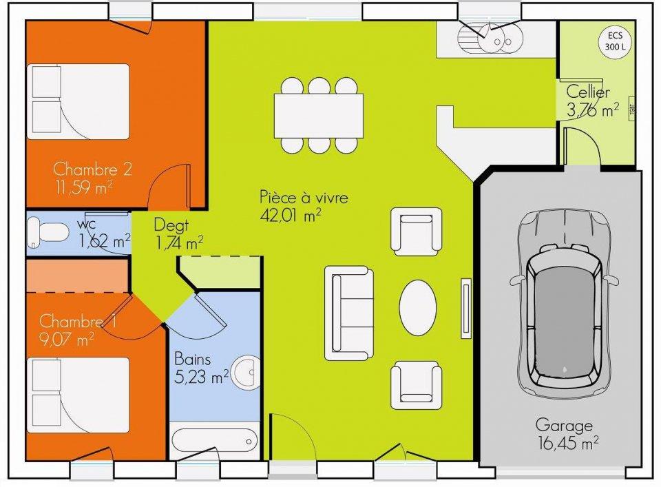 Maison plain pied 2 chambres plans maisons for Photo plan maison