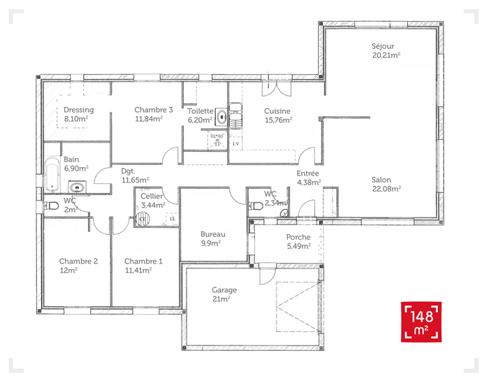 Fabulous Plan de maison plain pied 150 m2 - Plans & maisons IP86