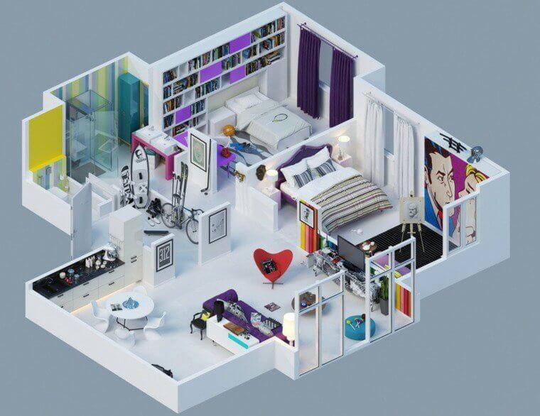 Plan maison 3D 2 chambres
