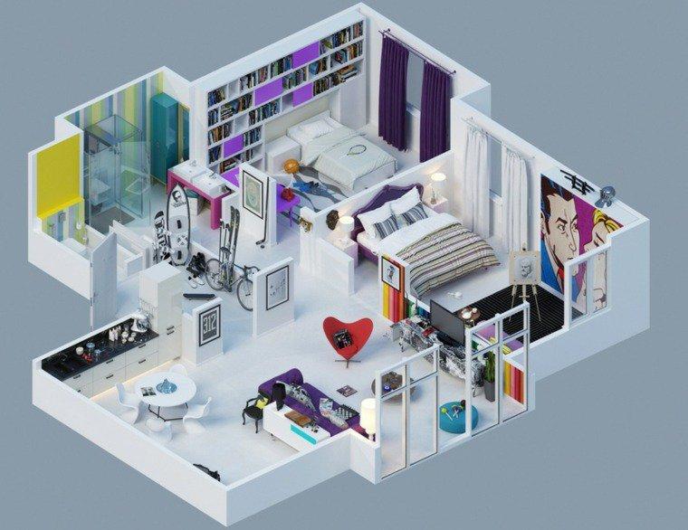 Plan de maison 3d avec 2 chambres et garage plans pour for Construire sa maison 3d