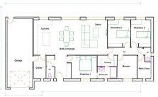 Plan maison bois de plain pied 120 m2