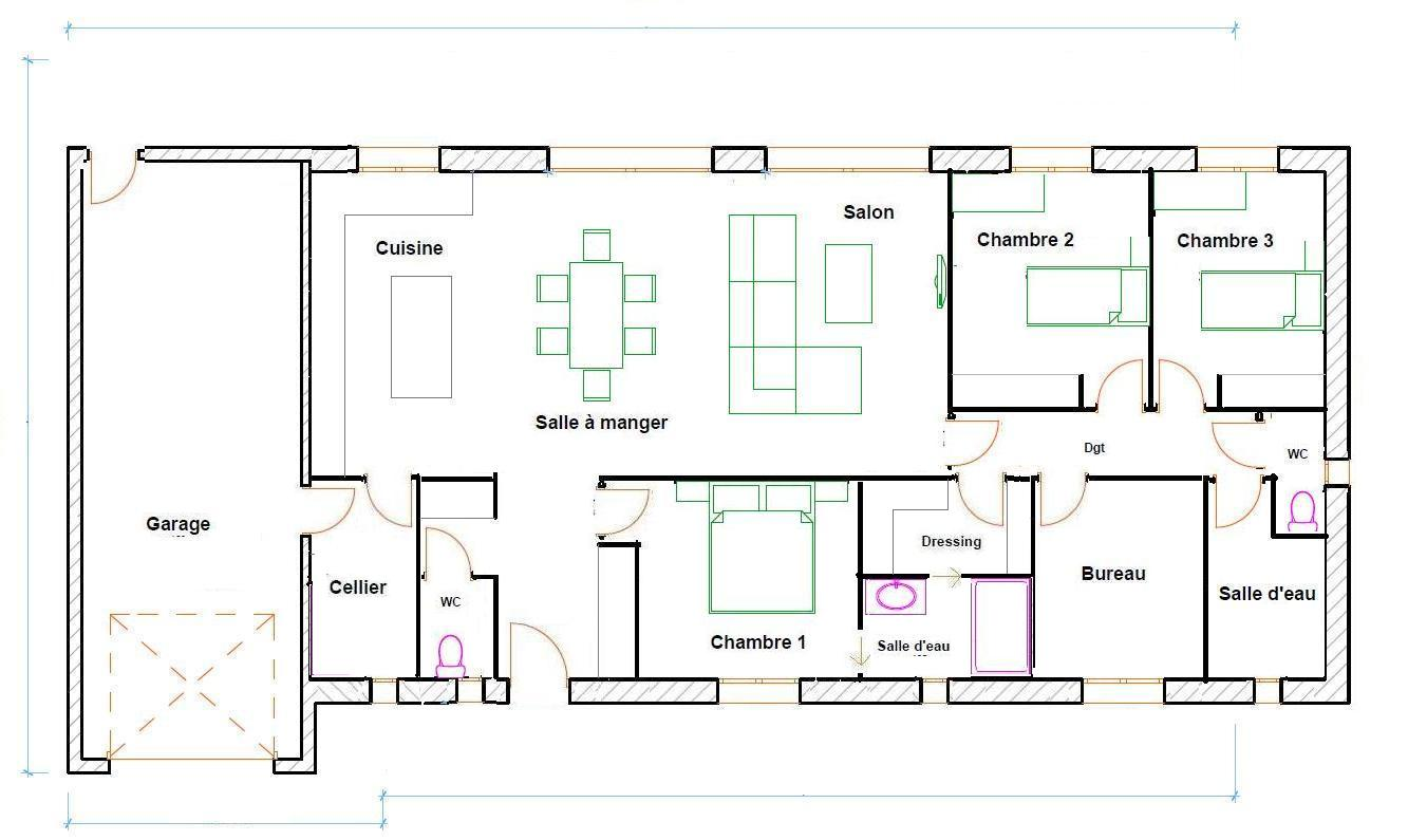 Plan de maison plain pied 150 m2 plans maisons for Exemple plan de maison plain pied
