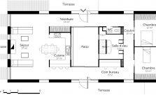 Plan maison rectangulaire 2 chambres et terrasses