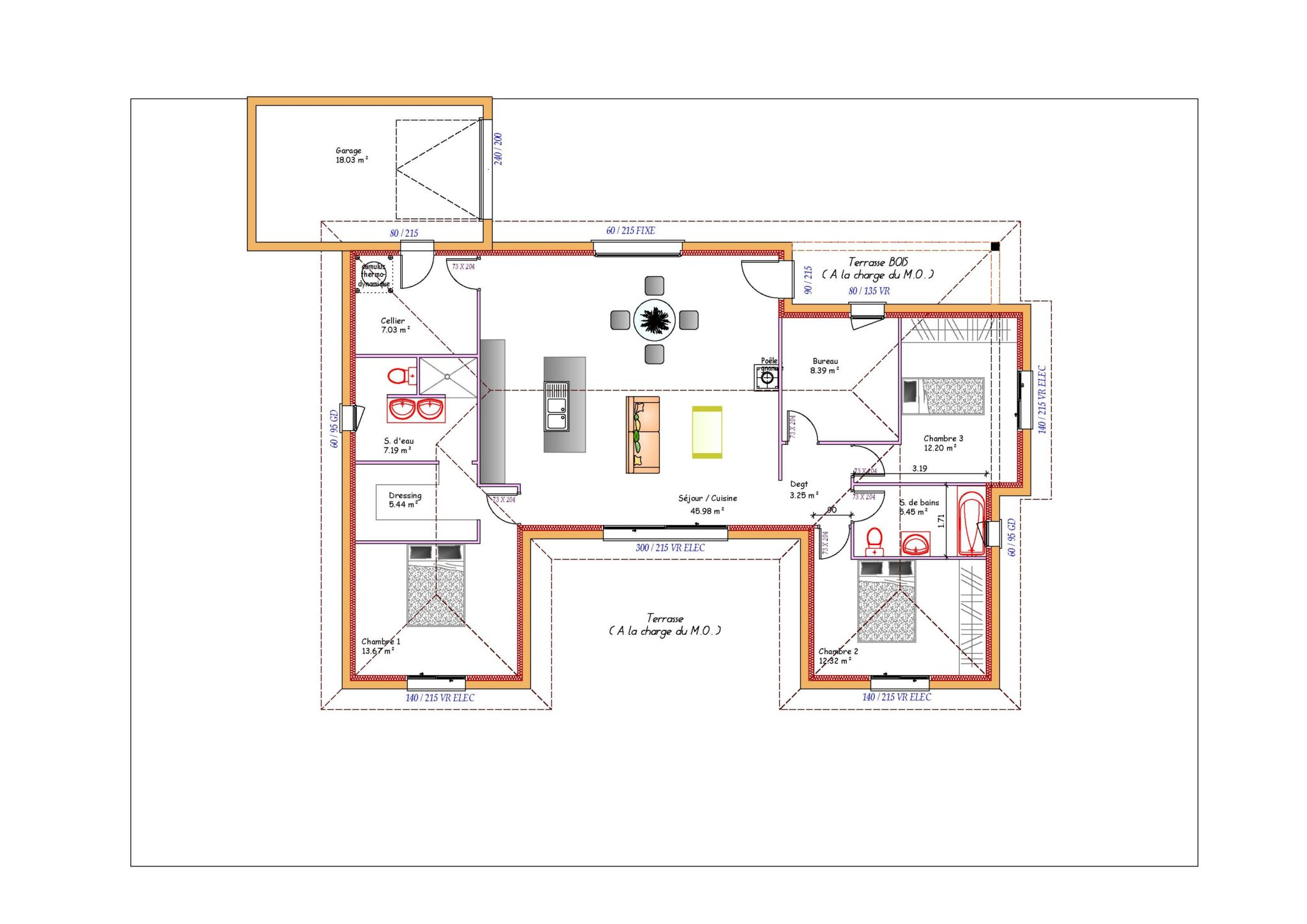 Maison plain pied en u for Plan maison en u