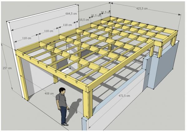 Abri voiture plan carport toit plat pour 2 voitures plans maisons - Plan d un carport adosse ...