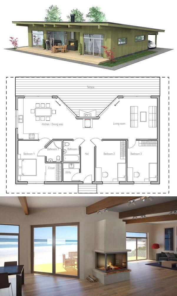 Maison en bois américaine avec cheminée centrale