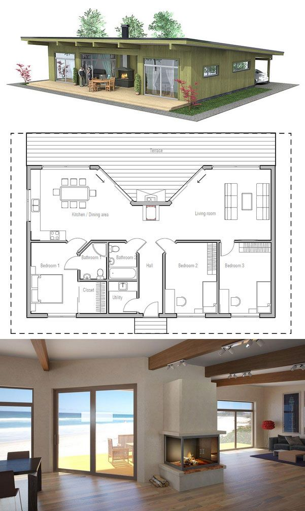 Maison en bois am ricaine avec chemin e centrale plans maisons - Maison avec cheminee ...