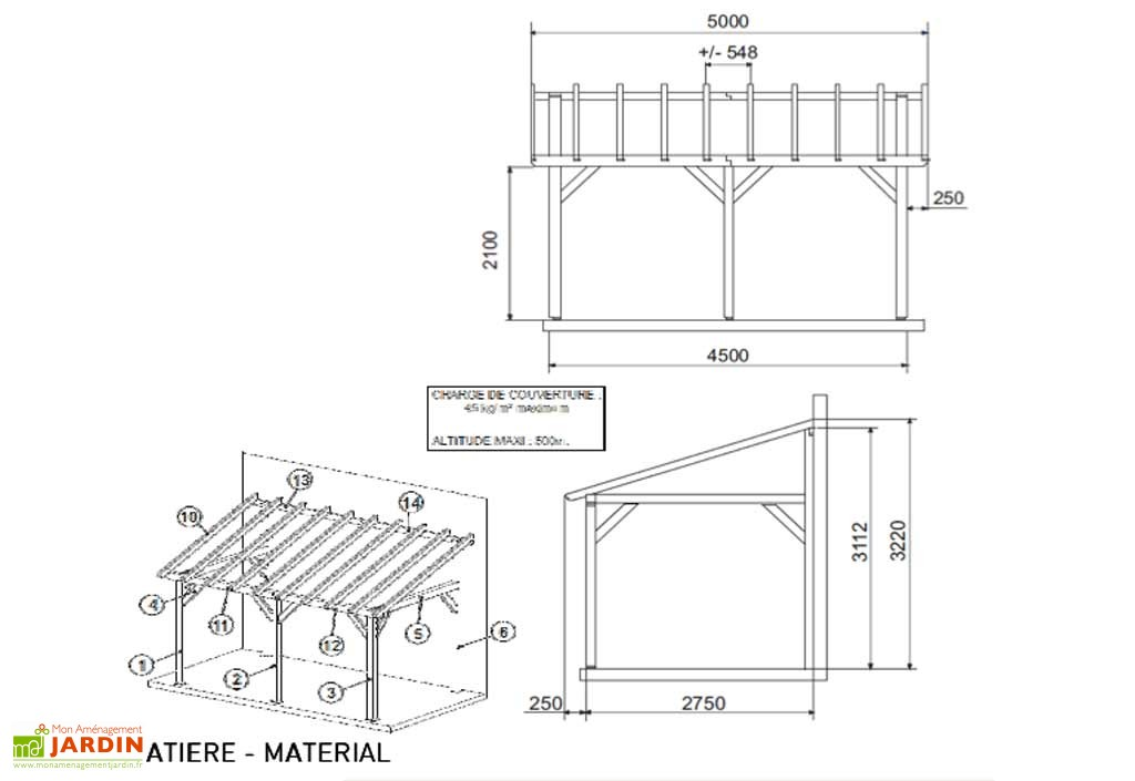 Plan carport double adoss plans maisons - Plan d un carport adosse ...