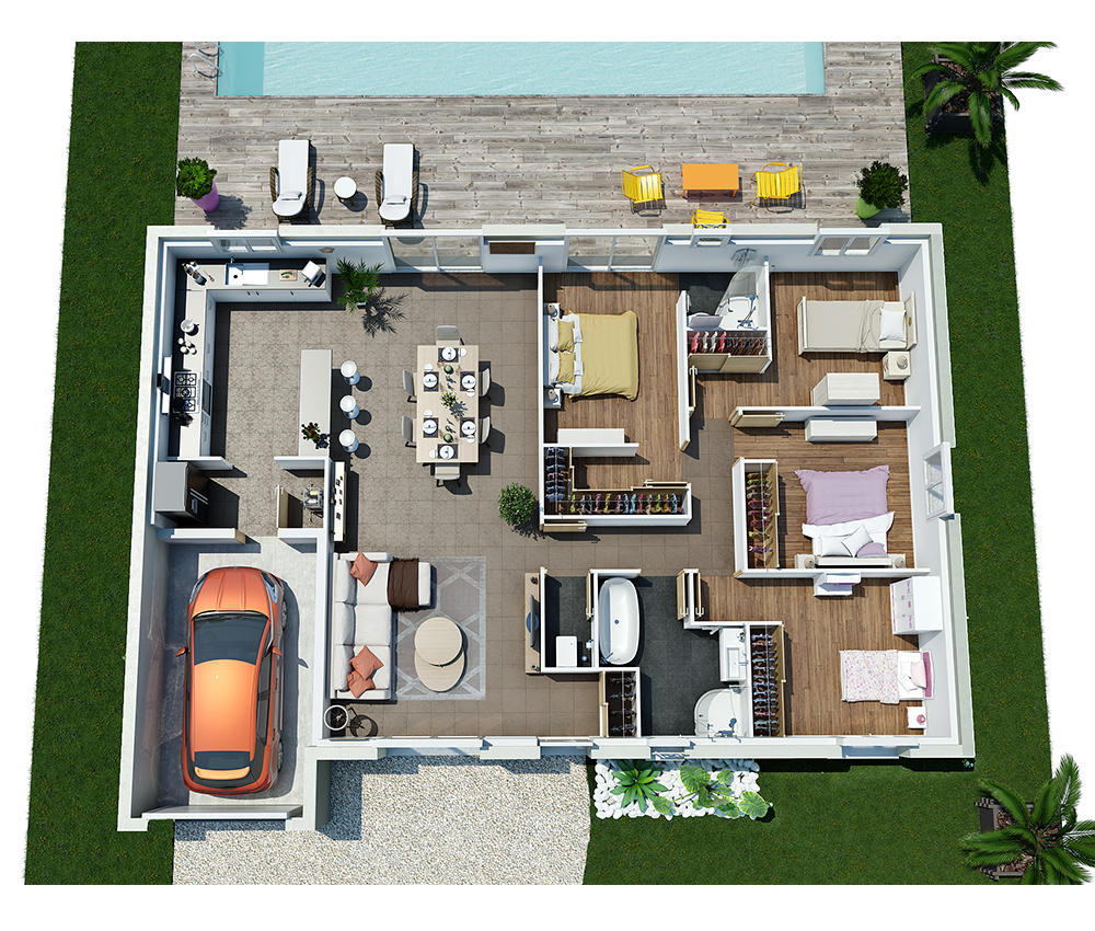 Plan 3d villa contemporaine de plain pied moderne plans for Plans en 3d