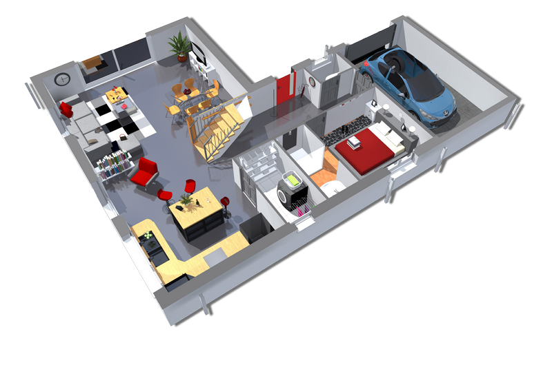 plan maison 3d de 125 m 2 chambres avec garage plans maisons. Black Bedroom Furniture Sets. Home Design Ideas