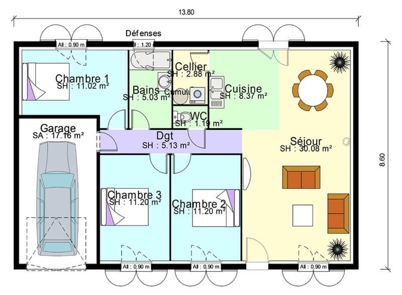 Plan De Masse De Maison Avec 3 Chambres Salon Cuisine Et Salle A Manger Plans Maisons
