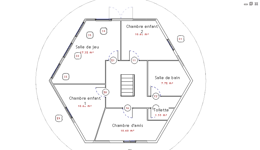 Plan maison hexagonale
